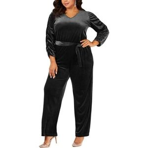 Ny Collection Black Velvet Jumpsuit